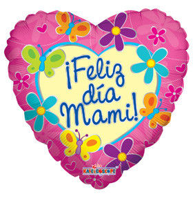 "9"" Mini Feliz Dia Mami  AIR FILL ONLY Heart Shape (5 PACK)#34640"
