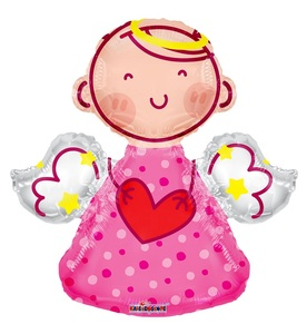 "28"" Pink Angel Shape Balloons Girl #35278"