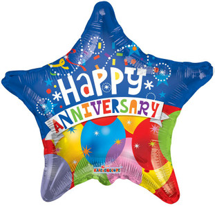 "18"" Anniversary Balloon Star Shape (5 PACK)"