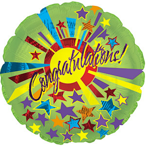 "18"" Congratulations Star Burst Balloons 1ct"