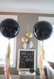 "Gender Reveal Balloons 36"" Black Latex Balloons 2 per pack"