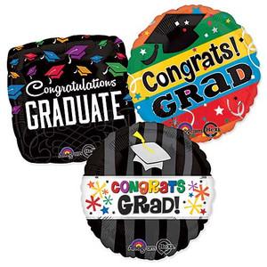 """Bulk Graduation Balloons 100 Assorted 18"""" Helium Foil Grad & Congrats See Details"""
