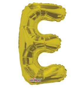 "CLOSE OUT 14"" Mini Gold Letter E Foil Air Fill Balloons"