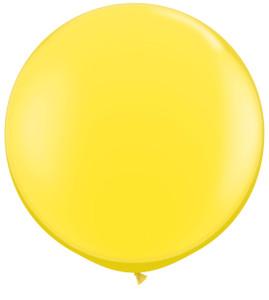 """36"""" Qualatex Yellow Round Latex Balloons 1ct #42690"""