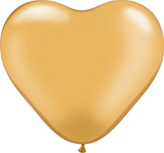 "6"" Qualatex Gold Heart 100ct"