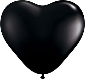"**Special Price*  6"" Qualatex Onyx Black Heart 100ct"