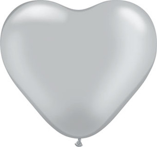 "6"" Qualatex Silver Heart Latex Balloons 100ct"