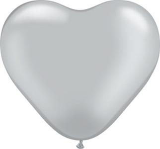 "6"" Qualatex Silver Heart Latex Balloons 100ct"