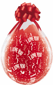 "18"" Qualatex Clear Stuffing Balloon Printed I Love You 25ct #37549"