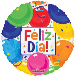 """18"""" Spanish Balloons Feliz Dia (5 PACK)#15091"""