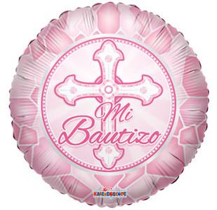 "18"" Mi Bautizo Baptism/Christening Pink Helium Foil Balloons 1ct #34229"