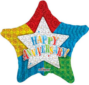 "18"" Anniversary Star Shape Helium Foil Balloon(5 PACK)  #19174"