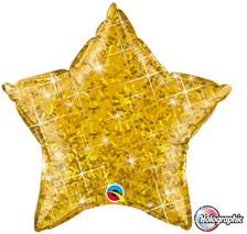 20 inch qualatex holgraphic gold star foil balloon