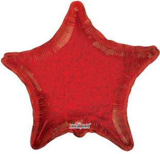 "22"" Holographic Red Star Shape Helium Foil Balloon 5 pack #17686-22"