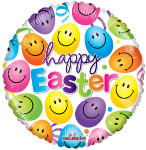 """18"""" Smiling Easter Eggs Helium Foil Balloon 1ct #82058"""