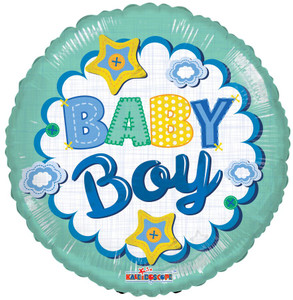 "18""Baby Boy Quilt Helium Foil Balloon 1ct #15830"