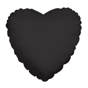"9"" Black Heart Foil Balloon Air Fill Only (5 PACK) #34107-09"