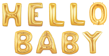 "40"" Large Gold ""HELLO BABY"" Balloon Kit- Includes 9 Balloons"