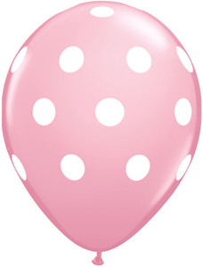 "11"" Qualatex Baby Pink w/ White Polka Dots 50ct #42944"