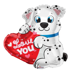 "20"" Dalmatian I Love You Dog  Shape Helium Foil Balloon (5 Pack)#15711"