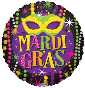 "18"" Mardi Gras Beads Masks Helium Foil Balloon 1ct # 82072"