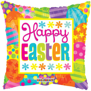 "18"" Happy Easter Square Helium Foil Balloon 1ct #82065"