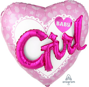 "36"" Celebrate Baby Girl Helium Balloon Raised ""Girl"" 3D Phrase 36"" #30921"