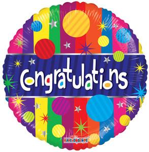 "18"" Congratulations Strips Foil Helium Balloons (5 Pack)#15840"
