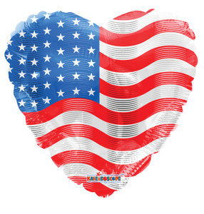 18″ American Flag On Heart Shape Helium Foil Balloon (5 Pack)87030-18
