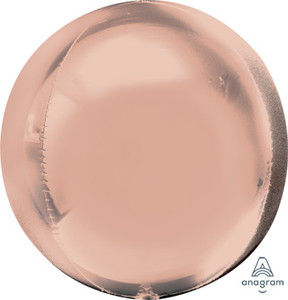 """16"""" ORBZ Shiny Rose Gold Spherical Round Balloon (3 Pack) #36181"""