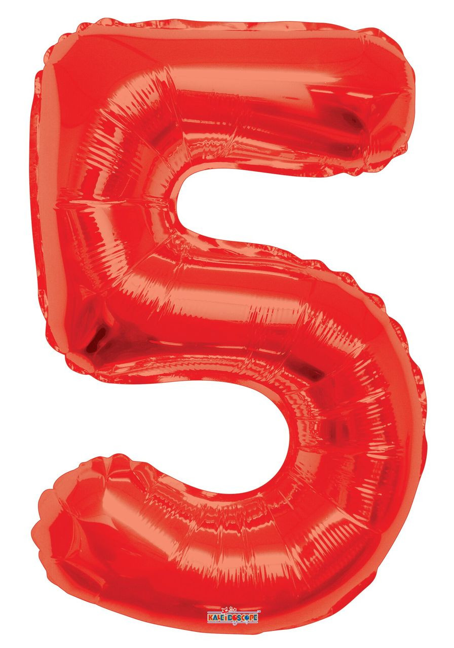 Red Number Balloons 34 U0026quot  Large Red Number 5 Balloons 1ct