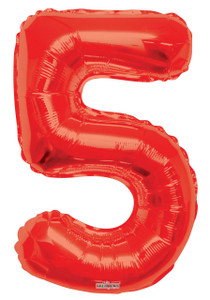 red number balloons, red number 5 balloon