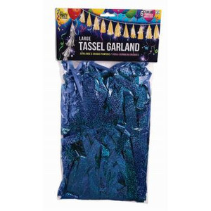 "12"" Balloon Tassel Blue Holographic 12 Pack #LGTASBH"