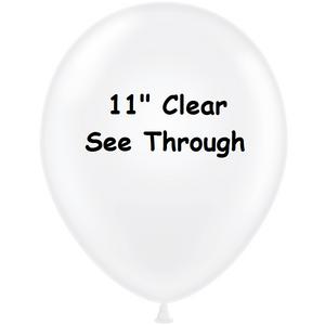 clear balloons, see through