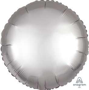 satin luxe silver circle balloon