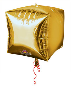 "16"" Cubez Shiny Gold Chrome 3D Cubic Balloon (3 Pack) #28336"