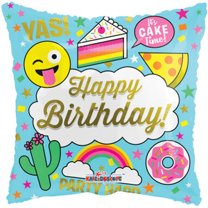"18"" Happy Birthday Donuts,Cake Emoji  Helium Foil Balloon 1ct  #15440"