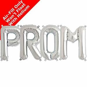 "16"" Mini Air Fill Silver ""PROM"" Balloon Kit- Includes 4 Balloons"