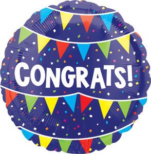 blue congrats balloons