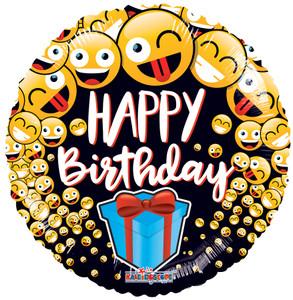 happy birthday emoji balloons
