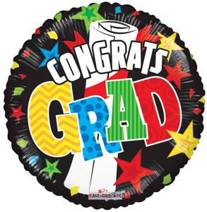 "18"" Congrats Grad Banners & Stars Graduation Balloon 1ct #85340"