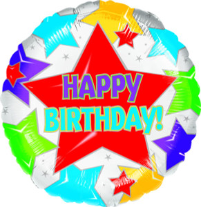 "18"" Happy Birthday Stars Helium Foil Balloon (5 Pack) #07303"
