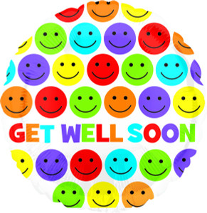 "18"" Get Well Soon Bright Smiles Helium Foil Balloons (5 Pack)#33252"