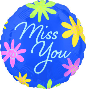 "18"" Miss You Flowers Helium Foil Balloons (5 Pack) #32768"