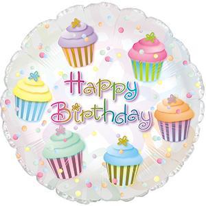 "18"" Happy Birthday Cupcake Helium Foil Balloons (5 Pack) #114157"
