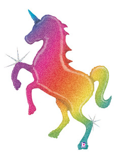 "LARGE SHAPE GLITTER HOLOGRAPHIC RAINBOW UNICORN 54""  #35700P"