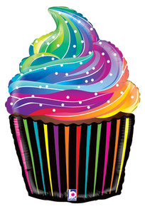 "Large Shape Rainbow Frosted Cupcake 27"" (1 PKG) #35856"