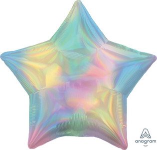 "19"" Iridescent Pastel Rainbow Star Helium Foil Balloons 5 Pack  #39407"