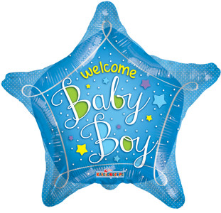 "18"" Welcome  Baby Boy Boy Star Shape Helium Foil Balloons (5 PACK)#19734"