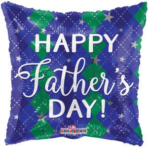 """18"""" Happy Father's Day Blue Square Helium Foil Balloon (5 Pack)#86112"""